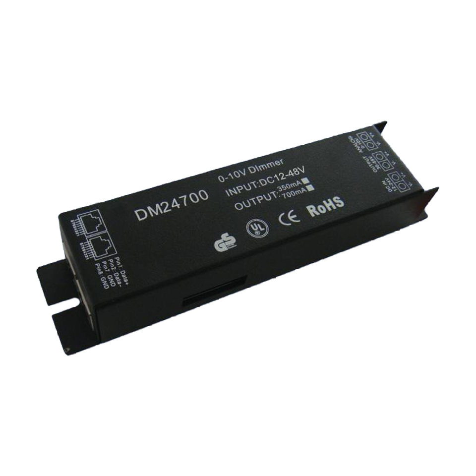 DM-24700 Led dimmer (1 channel) DMX constant current. Έξοδος 350mA (1-12W) ή 700mA (3-36W). Τάση τροφοδοσίας 12-48V DC.